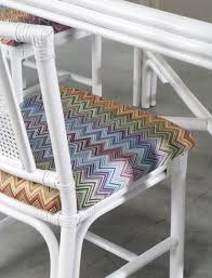 Rattan Dining Table And Chairs White Rattan Dining Set With Four Chairs In Missoni Fabric For