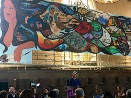 images and words from the launch of l a history a mexican dr anthea hartig ceo and executive director of chs speaking in front of barbara carrasco s l a history a mexican perspective 1981