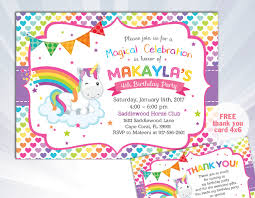 Children Birthday Invitation Card Rainbow Unicorn Invitation Unicorn Birthday Invitation Unicorn