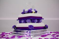 tiered wedding cake with purple flowers stock image image 182351