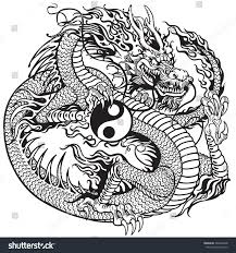 chinese dragon holding yin yang symbol stock vector 266042648