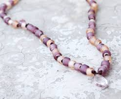 pink coloured beads necklace images Blush beaded necklace pale pink quartz mauve and lilac bohemian jpg