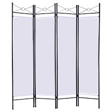 Privacy Screen Room Divider by 4 Panels Metal Frame Room Private Folding Screen Room Dividers