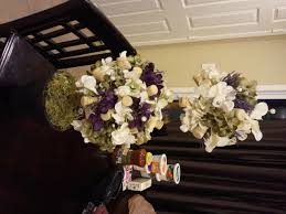 Topiary Wedding - wine cork hydrangea pearl crystal double topiary wedding