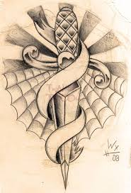 dagger with banner tattoo design real photo pictures images and