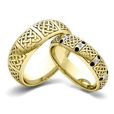 black friday wedding bands his hers matching wedding bands 14k gold celtic black diamond ring