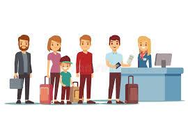 bureau d enregistrement file d attente de personnes dans l aéroport au bureau d