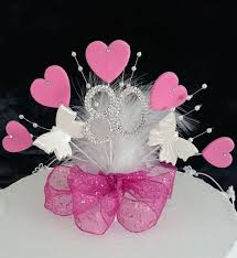 butterfly cake toppers fuchsia pink diamante heart and butterfly cake topper