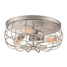 Caged Ceiling Fan With Light Shop Millennium Lighting Neo Industrial 15 5 In W Satin Nickel