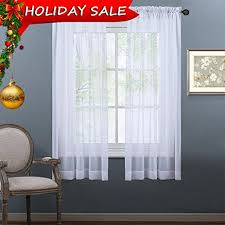 amazon com nicetown sheer curtains 63 long rod pocket