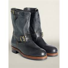 engineer boots rrl leather engineer boot in black for men lyst