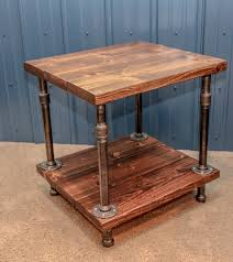 Storage End Tables For Living Room Industrial Wood And Pipe End Table Rustic Di Bcindustrialtreasure