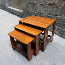 mid century teak nesting tables set of 3 u2013 sculptural