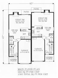 Duplex House Plans For Narrow Lots Fancy Idea 1 800 Square Feet Duplex House Plans Plan Chp Homeca