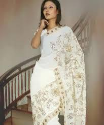 sari mariage sari indien blanc en mousseline et satin de soie pas cher