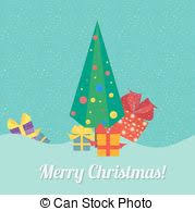 vectors of christmas tree with gift box in flat style on