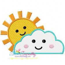 sun cloud machine embroidery design