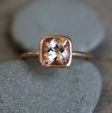 gold and morganite ring morganite ring in 14k gold ring cushion cut and highly