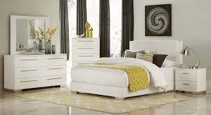 homelegance linnea 4pcs high gloss white wood vinyl bedroom set