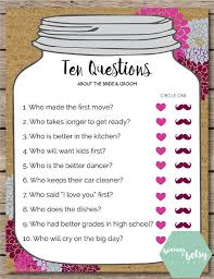 wedding gift questions this printable ten questions is for any bridal shower