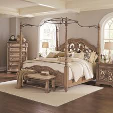 Coaster Furniture Bedroom Sets by Ilana Collection 205071 Canopy Bed In An Antique Linen Finish And