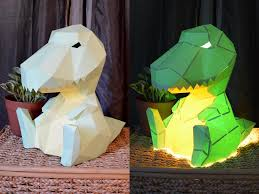 build an adorable t rex lamp from just paper and glue diy