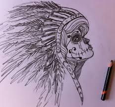 sugar skull indian sketch tattoos piercings