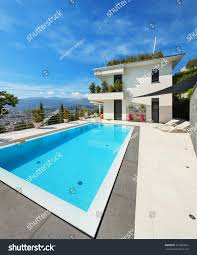 house with swimming pool beautiful white house swimming pool summer stock photo 316062695