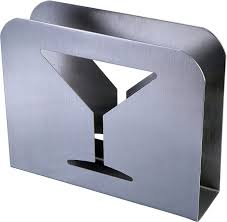 pro chef kitchen tools stainless steel cocktail napkin holder metal serviette napkin holder dispenser stainless steel with cocktail wine glass design for kitchen and restaurants
