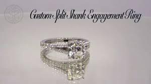 cushion cut split shank engagement rings custom split shank cushion cut engagement ring