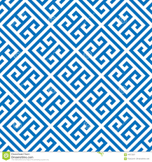greek key seamless pattern background in blue and white vintage