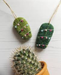 needle felted cactus ornament made to order cacti plant