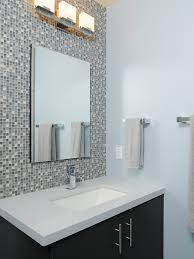 tile accent wall in contemporary bathroom a multicolored mosaic