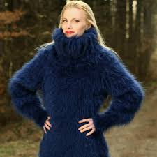 sweaters hand knitted turtleneck mohair sweater dress in deep blue