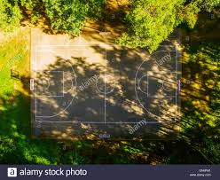 flat lay aerial top view of outdoor basketball court stock photo