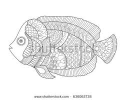 angel fish coloring book vector illustration stock vector