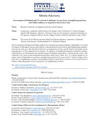 media advisory government of finland and un convene conference to