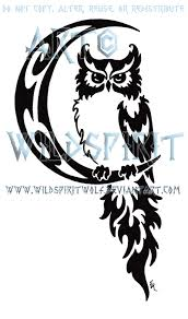 black tribal owl on half moon tattoo stencil by wildspiritwolf