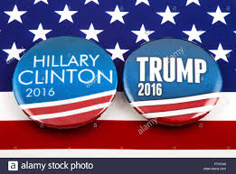 American Battle Flag Hillary Clinton And Donald Trump Pin Badges Over The American Flag