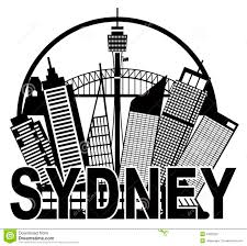 Illinois On Map by Sydney Australia Skyline Circle Black And White Il Stock Vector