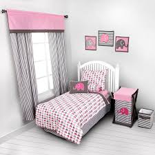 Kid Bedding Sets For Girls by Bacati Elephants Pink Grey 4 Pc Toddler Bedding Set