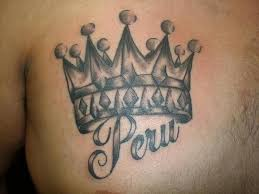 word peru and crown of king tattoo tattoos book 65 000 tattoos