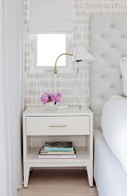white nightstand with one drawer and brass pull contemporary