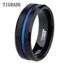 thin blue line wedding band 8mm men black tungsten carbide ring thin blue line wedding band