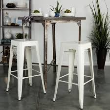 White Metal Bar Stools Tabouret 24 Inch White Metal Counter Stools Set Of 2 Free