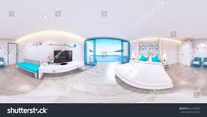 minimal room 3d rendering bedroom interior sea view stock illustration