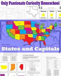 Map Of States With Capitals by States And Capitals Printable Flash Cards And Worksheets U2013 Only
