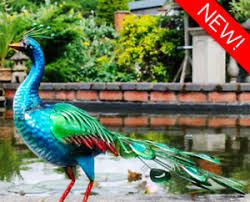 new percy the large vibrant metal peacock garden