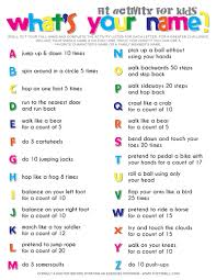 what s your name fitness activity printable for kids fitness