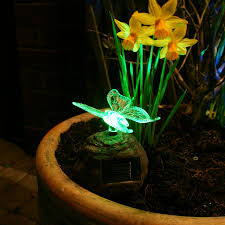 flower pot solar light outdoor and patio colorful outdoor solar lighting with wooden